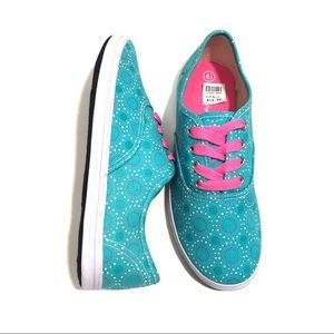 AMERICAN EAGLE Girl's 4.5 Blue Dot Canvas Sneakers